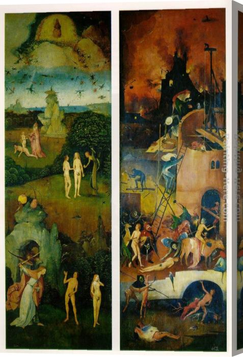 Hieronymus Bosch Paradise and Hell, left and right panels of a triptych Stretched Canvas Painting