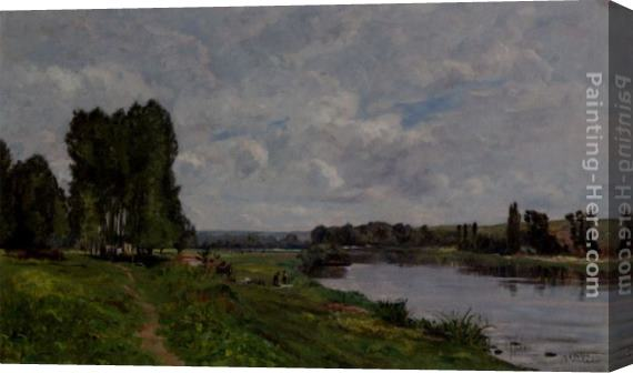 Hippolyte Camille Delpy Washerwoman On The Riverbank Stretched Canvas Painting