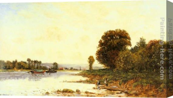 Hippolyte Camille Delpy Washerwomen in a River Lanscape with Steamboats beyond Stretched Canvas Painting