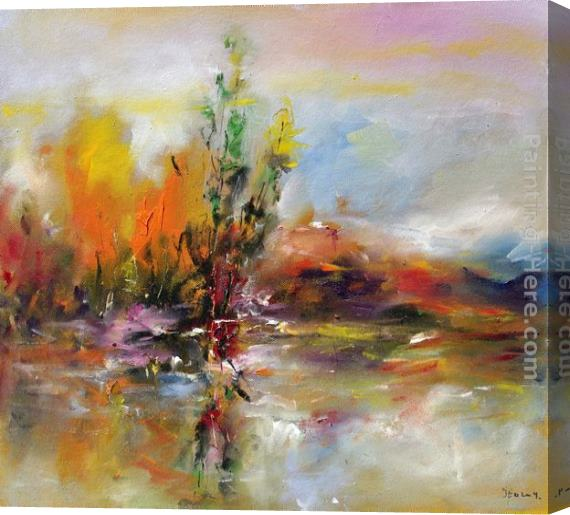 Ioan Popei Autumn Landscape Stretched Canvas Painting