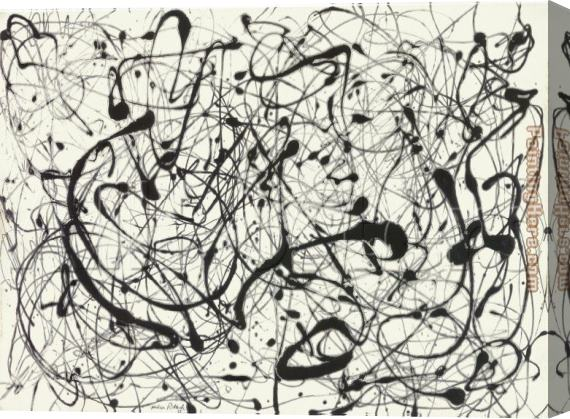 Jackson Pollock No. 14 Gray Stretched Canvas Painting