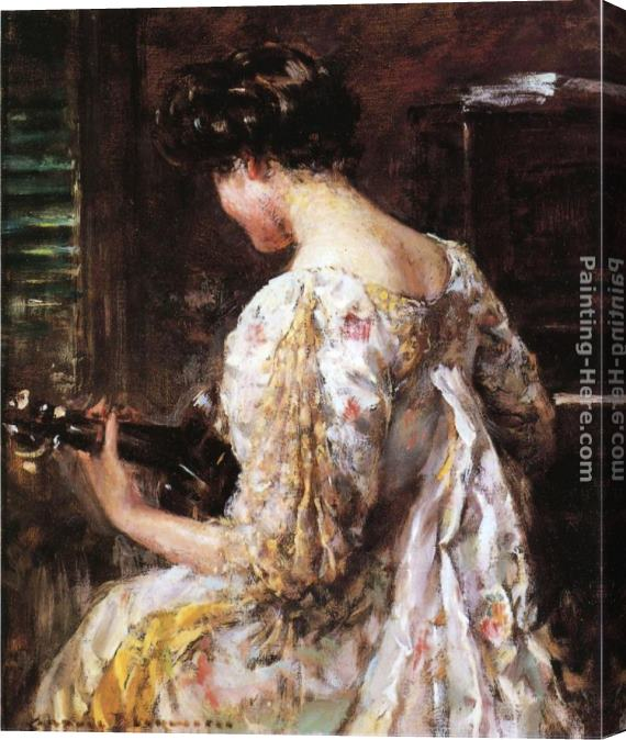 James Carroll Beckwith Woman with Guitar Stretched Canvas Painting