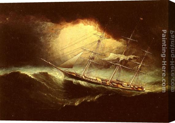 James E. Buttersworth Ship In A Storm Stretched Canvas Painting