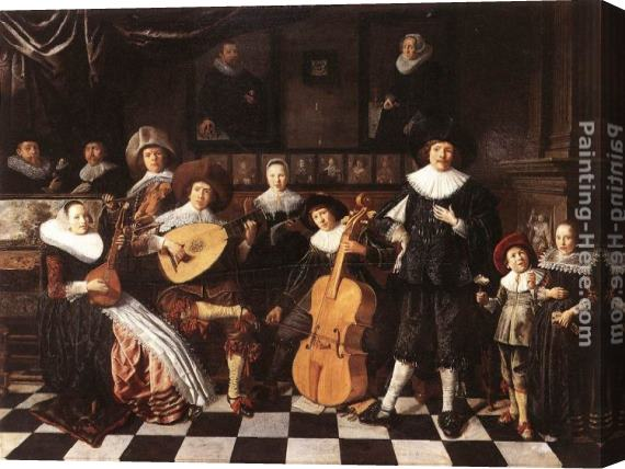 Jan Miense Molenaer Family Making Music Stretched Canvas Painting
