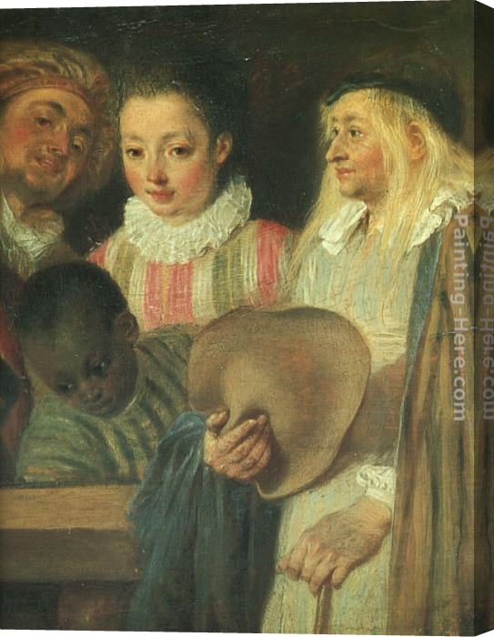 Jean-Antoine Watteau Actors from a French Theatre - detail Stretched Canvas Painting
