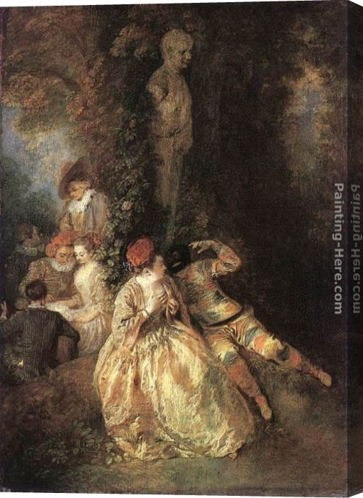 Jean-Antoine Watteau Harlequin and Columbine Stretched Canvas Painting