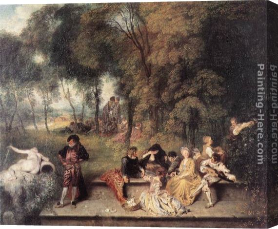 Jean-Antoine Watteau Merry Company in the open air Stretched Canvas Painting