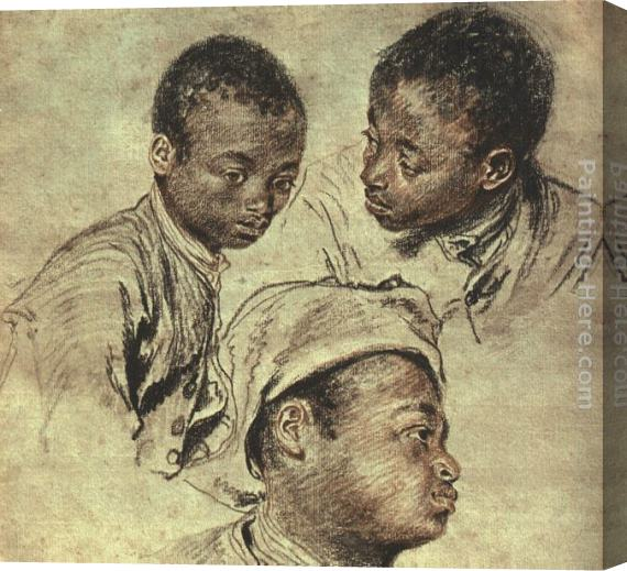 Jean-Antoine Watteau Three studies of a boy Stretched Canvas Painting