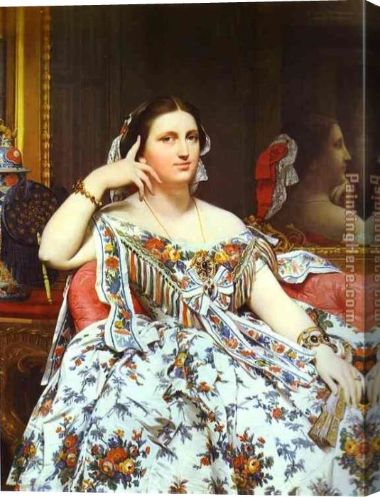 Jean Auguste Dominique Ingres Mme Moitessier Stretched Canvas Painting