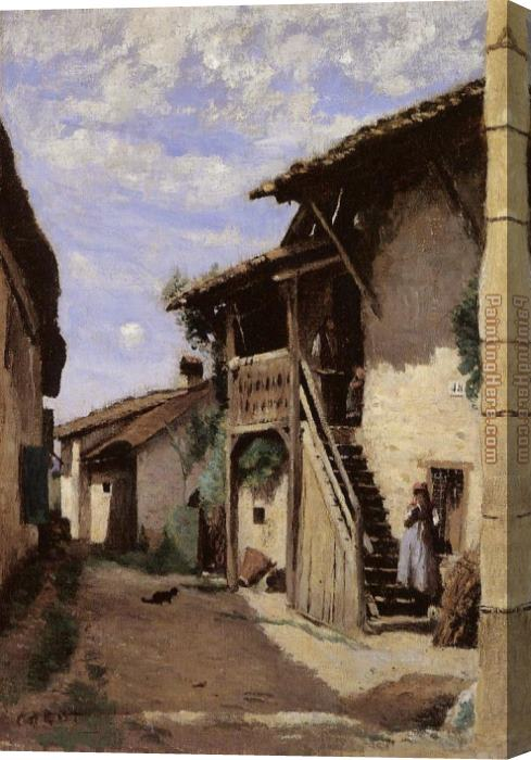 Jean-Baptiste-Camille Corot A Village Steeet, Dardagny Stretched Canvas Painting