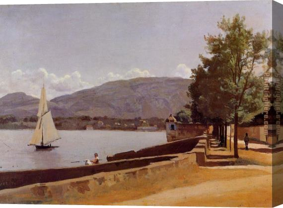 Jean-Baptiste-Camille Corot The Quai des Paquis in Geneva Stretched Canvas Painting
