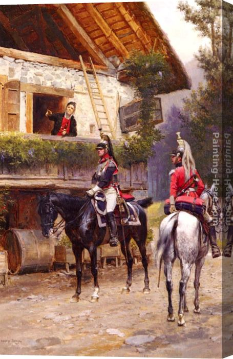 Jean Baptiste Edouard Detaille Officers from a Cuirassier Regiment in front of a Country House Stretched Canvas Painting