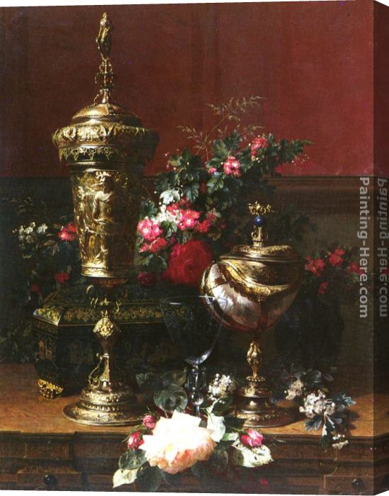 Jean-Baptiste Robie A Still Life With A German Cup, A Nautilus Cup, A Goblet An Cut Flowers On A Table Stretched Canvas Painting