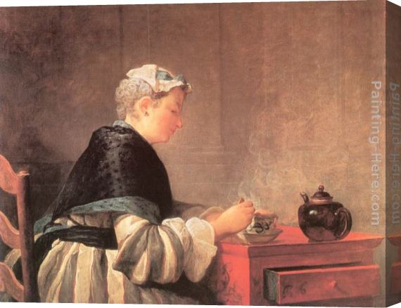 Jean Baptiste Simeon Chardin Lady Taking Tea Stretched Canvas Painting