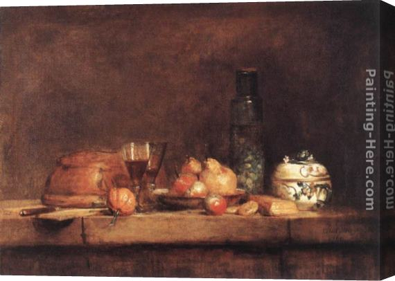 Jean Baptiste Simeon Chardin Still-Life with Jar of Olives Stretched Canvas Painting
