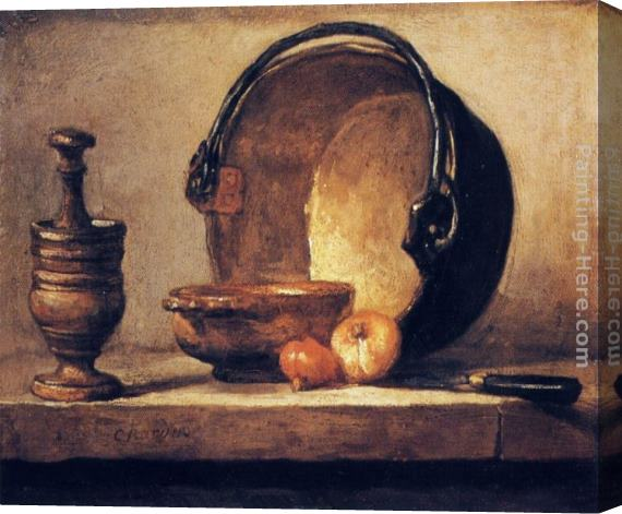 Jean Baptiste Simeon Chardin Still Life with Pestle, Bowl, Copper Cauldron, Onions and a Knife Stretched Canvas Painting