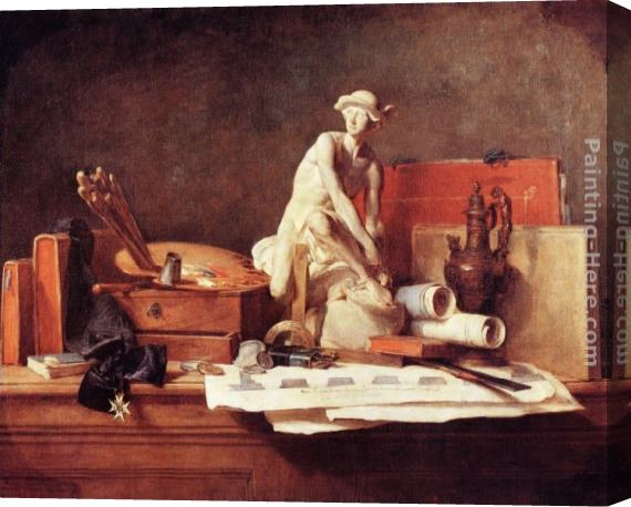 Jean Baptiste Simeon Chardin The Attributes of the Arts Stretched Canvas Painting