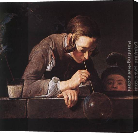 Jean Baptiste Simeon Chardin The Soap Bubble Stretched Canvas Painting