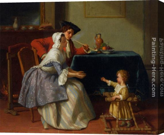 Jean Carolus Babys First Steps Stretched Canvas Painting