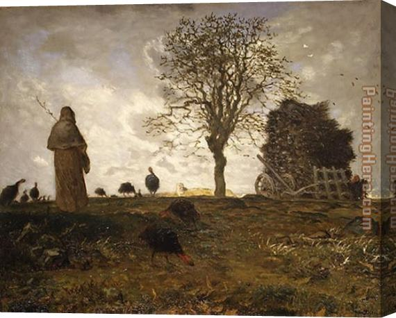 Jean Francois Millet Autumn landscape with a flock of Turkeys Stretched Canvas Painting