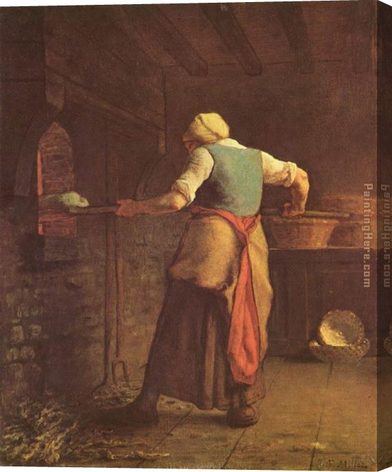 Jean Francois Millet Woman Baking Bread Stretched Canvas Painting