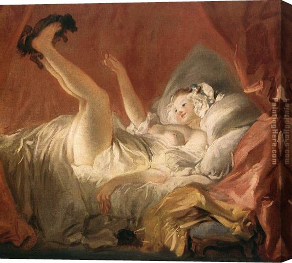 Jean-Honore Fragonard Young Woman Playing with a Dog Stretched Canvas Painting