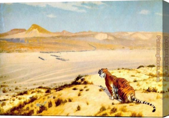 Jean-Leon Gerome Tiger On The Watch Stretched Canvas Painting