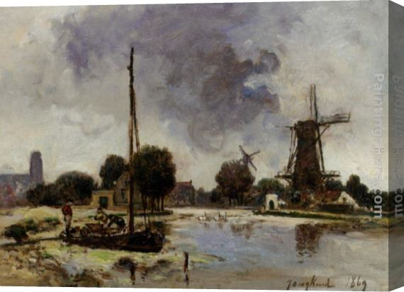 Johan Barthold Jongkind A Sailboat Moored on the Bank of a Stream Stretched Canvas Painting