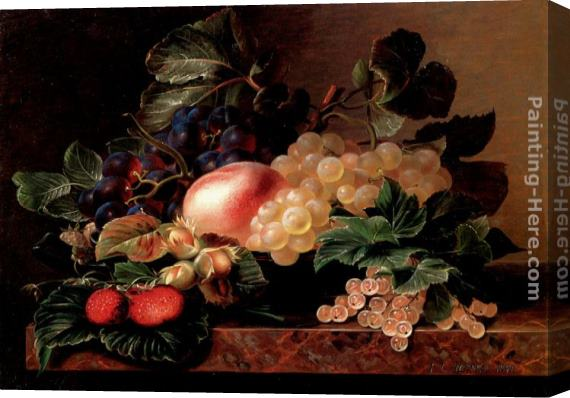 Johan Laurentz Jensen Grapes, Strawberries, a Peach, Hazelnuts and Berries in a Bowl on a marble Ledge Stretched Canvas Painting
