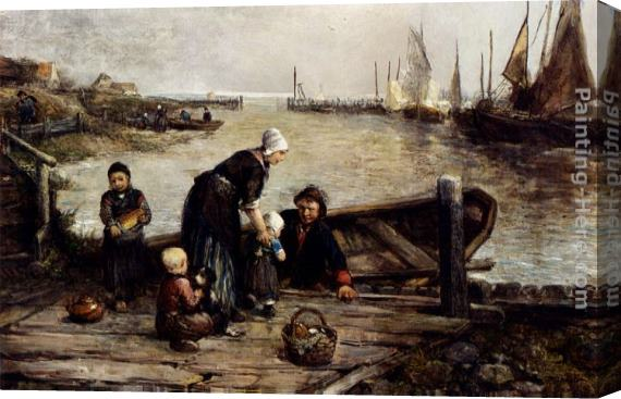 Johan Mari Ten Kate A Fisherman's Family, Marken Stretched Canvas Painting