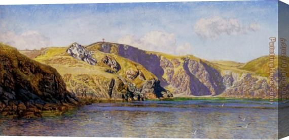John Brett Coast Scene With Calm Sea Stretched Canvas Painting