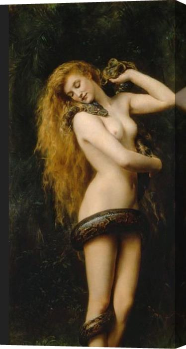 John Collier Lilith Stretched Canvas Painting