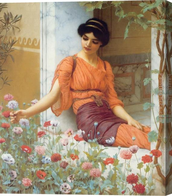 John William Godward Summer Flowers Stretched Canvas Painting