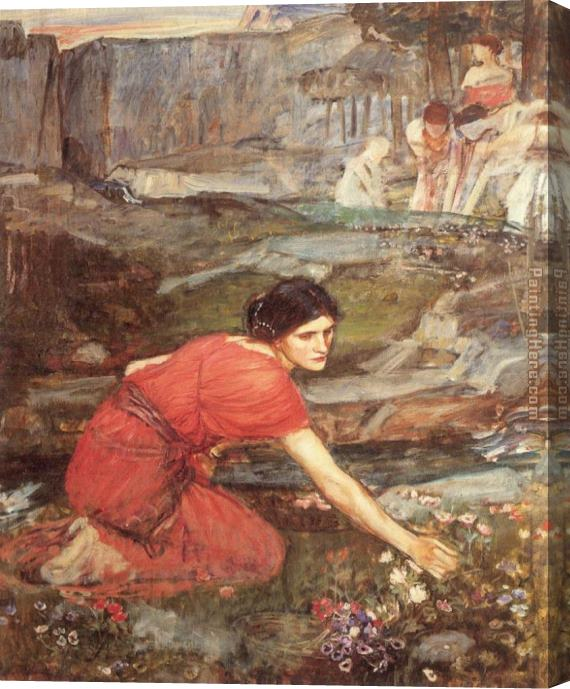 John William Waterhouse Maidens picking Flowers by a Stream Study Stretched Canvas Painting