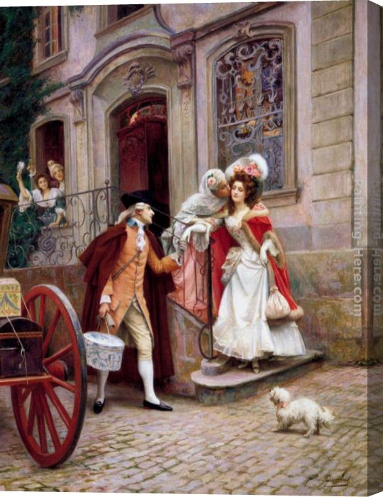 Jules Girardet Depart En Voyage De Noces Stretched Canvas Painting