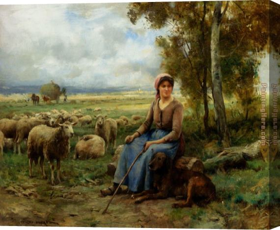 Julien Dupre Shepherdess Watching Over Her Flock Stretched Canvas Painting