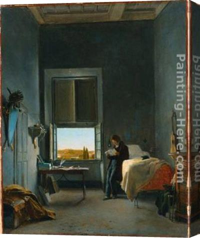 Leon Cogniet The Artist in His Room at the Villa Medici, Rome Stretched Canvas Painting