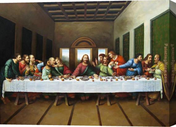 Leonardo da Vinci original picture of the last supper Stretched Canvas Painting
