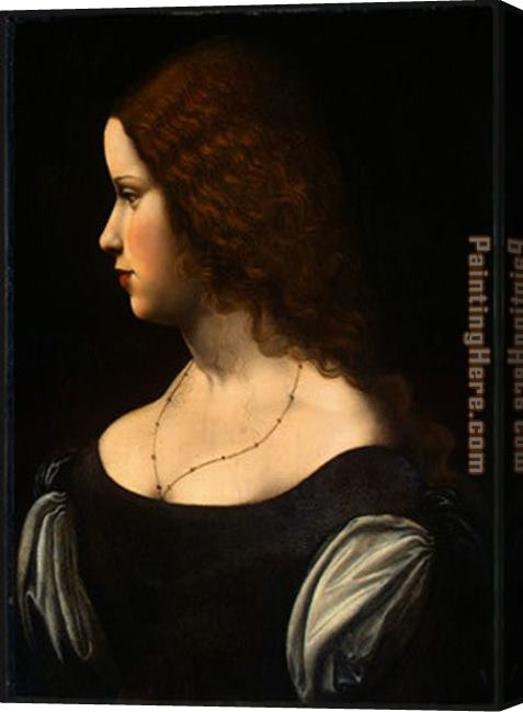 Leonardo da Vinci Portrait Of A Young Lady Stretched Canvas Painting