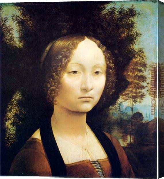 Leonardo da Vinci Portrait of Ginevra de Benci Stretched Canvas Painting