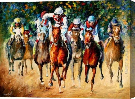 Leonid Afremov Horse Race Stretched Canvas Painting