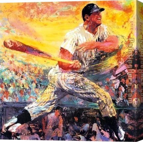 Leroy Neiman Mickey Mantle Stretched Canvas Painting