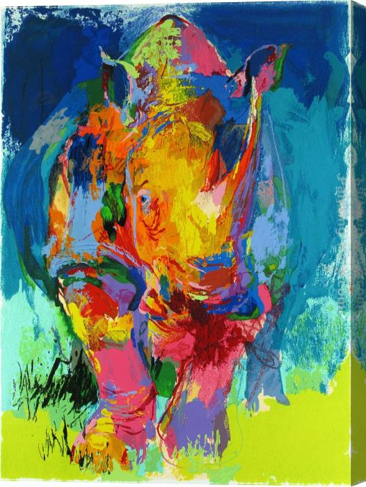 Leroy Neiman Rhino Stretched Canvas Painting