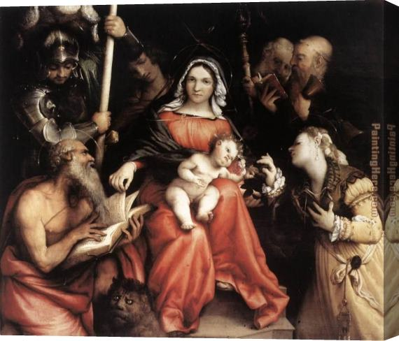 Lorenzo Lotto Mystic Marriage of St Catherine Stretched Canvas Painting