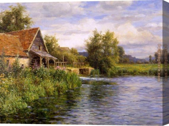 Louis Aston Knight Cottage by the River Stretched Canvas Painting