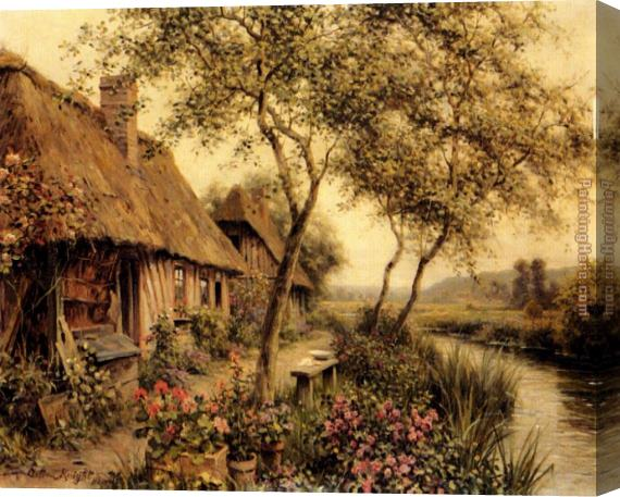 Louis Aston Knight Cottages Beside A River Stretched Canvas Painting