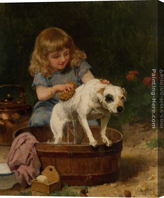 Louis Marie de Schryver Bath Day Stretched Canvas Painting