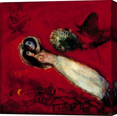 Marc Chagall lovers in the red sky Stretched Canvas Painting