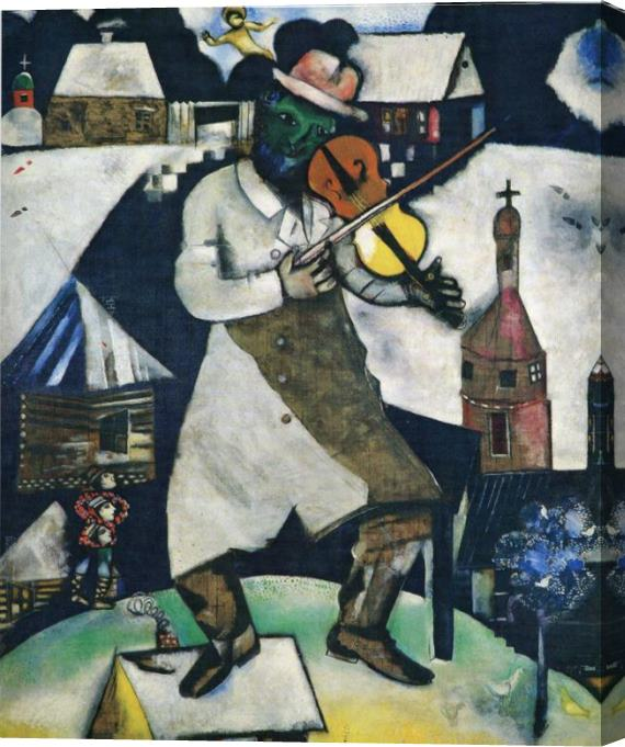Marc Chagall The Fiddler Stretched Canvas Painting