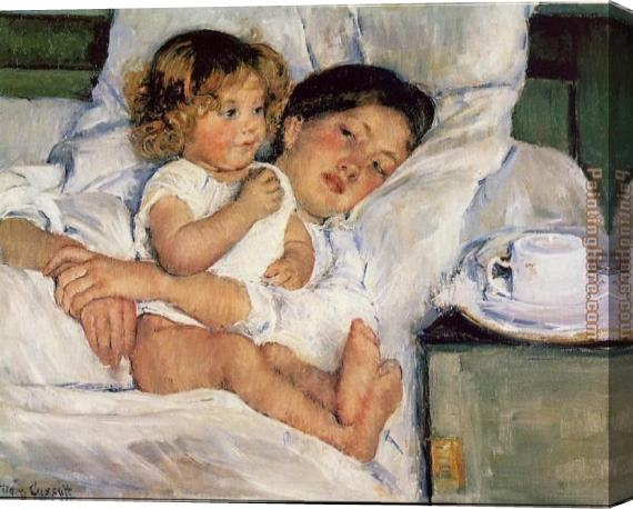 Mary Cassatt Breakfast in Bed Stretched Canvas Painting